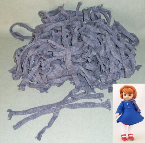"""Dozens!! of BLUE KNIT MUFFLERS  SCARVES for 9-10"""" DOLLS Wholesale Lot, Factory"""