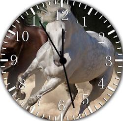 White Horse Frameless Borderless Wall Clock Nice For Gifts or Decor E375