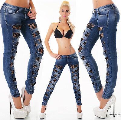 Zerstört Röhrenjeans (Damen Low Cut Blau Röhrenjeans Zerstört Look Spitze Jeans Größe 8 UK)