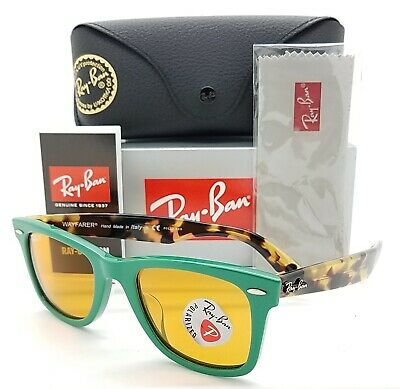 NEW Rayban Wayfarer Sunglasses RB2140F 1240N9 52 Green Tortoise Yellow