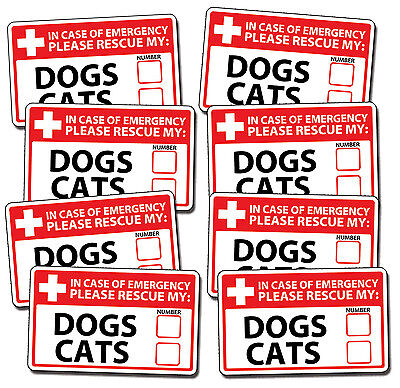 8 Emergency Pet Rescue DOG CAT Decal Sticker First Aid 911 Safety Safe Alert