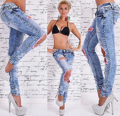 Zerstört Röhrenjeans (Damen Low Cut Jeans Zerstört Gebraucht Look Röhrenjeans Hose Hot Größe 6-14)