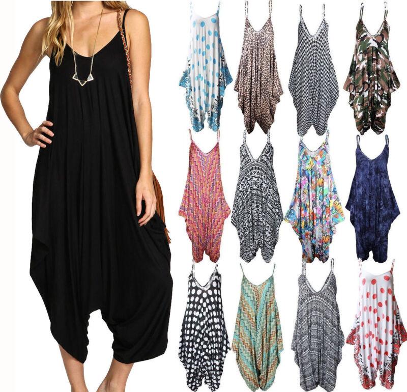 9bf9318f8f0 New Ladies Cami Lagenlook Romper Baggy Harem Jumpsuit Playsuit Dress Plus  Size