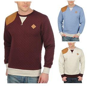 New-Soul-Star-Mens-Diamond-Quilt-Design-Sweatshirt-Jumper-Blue-Burgundy-Top