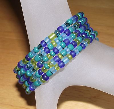 - Sea Glass Blue Green Mermaid Mix Beaded Wrap Coil Bracelet USA Made- Glass Beads