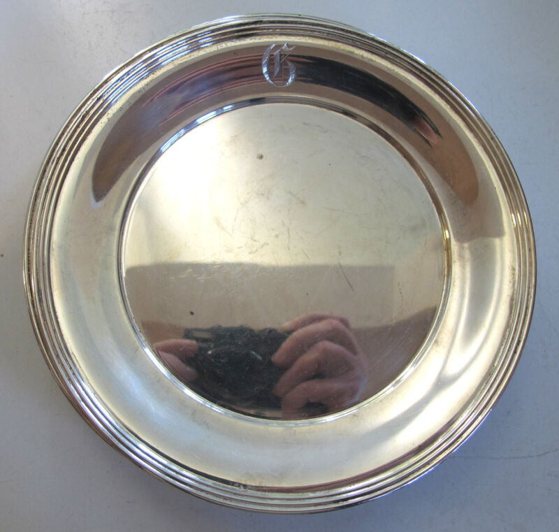 Set of 8 SMALL 6 inch STERLING SILVER PLATES - Marked J.S. Co.- Monogram G