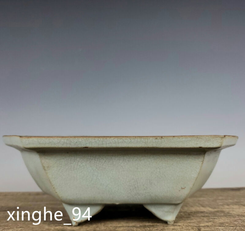 "10""China Song dynasty Porcelain Ru kiln museum mark Ice crack six edge Flowerpot"