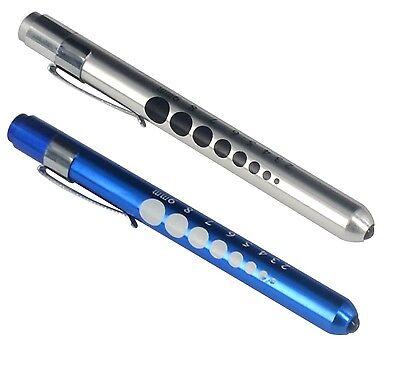 2 Pcs Silver Blue Aluminum Penlight Pocket Medical Led With Pupil Gauge Reusable
