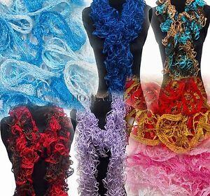 Flamenco-Glitz-Scarf-Yarn-Wool-Loopy-Frilly-Can-Can-Scarf-or-Ruffle-Ribbon