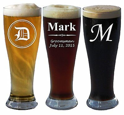 Personalized Beer (Personalized Pilsner Beer Glass 16 Ounce Wedding Party Groomsmen Father's Day)