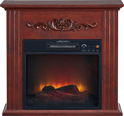 Electric Fireplace Fan Forced Heater LED Flame Freestanding Remote Control -