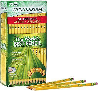 Ticonderoga Pencil Pre-sharpened Hb 2 Yellow 72 Pack 13972