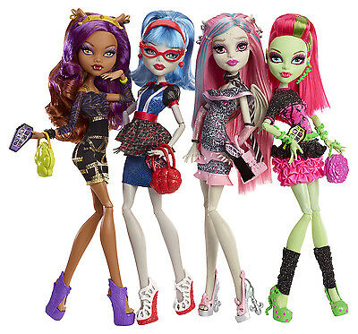 Mattel Monster High NACHTSCHWÄRMER 4 er Multi-Pack Ghouls Night Out BBR96 (Monster High Ghouls Night Out 4 Pack)