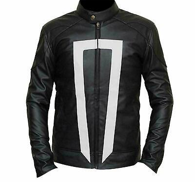 Agents Of Shield Ghost Rider Black lambskin Leather Jacket for Men