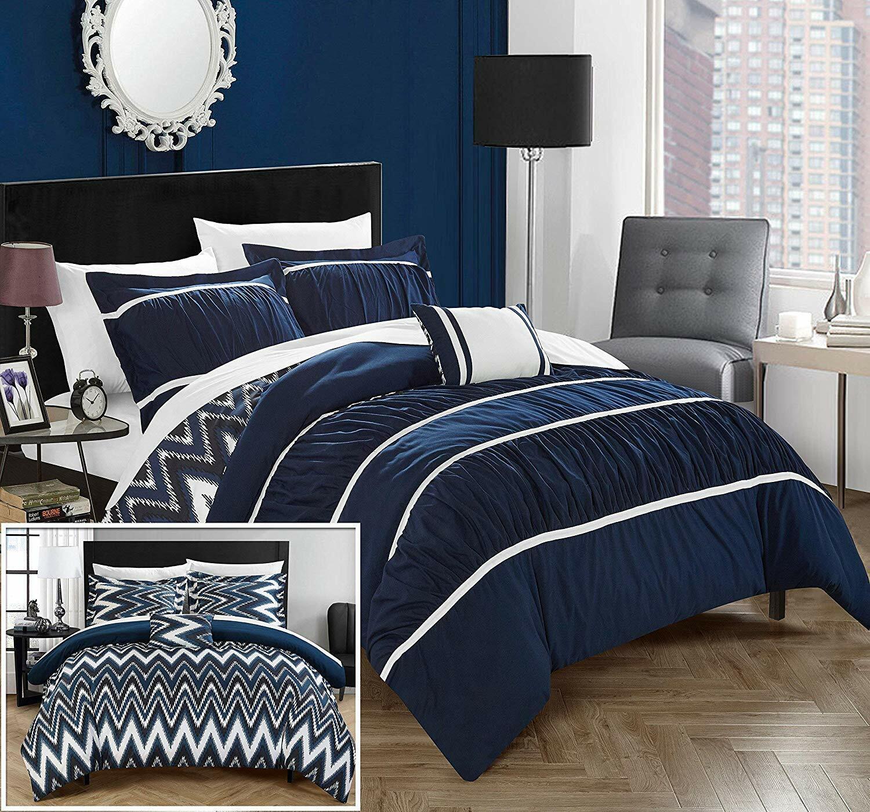 Chic Home Bella 4 Piece Bedding Set Full/Queen, Navy -Revers