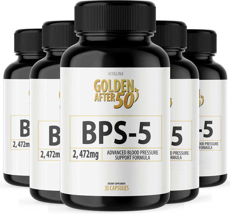 (5 Pack) Official BPS-5 Golden After 50 - Advanced Blood Pressure Support Formul