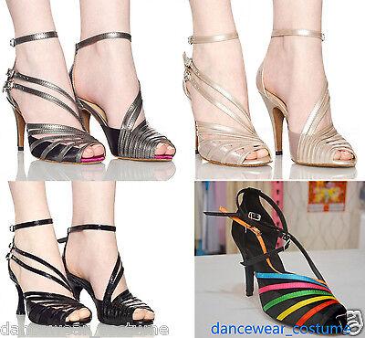 New Women Prom Waltz Tango Ballroom Latin Salsa Dance Shoes Heeled US5-9 4Colors