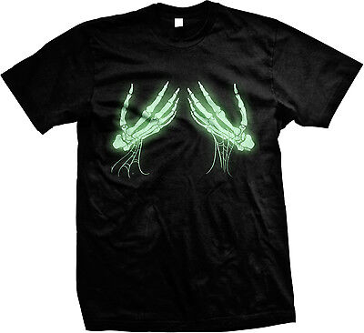 GLOW IN THE DARK Skeleton Hands Holding Boobs Halloween Funny Humor Mens T-shirt](Halloween Glow In The Dark Shirts)