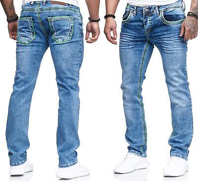 Herren Jeans Hose Denim Light-Blue KC-Black Washed Straight Cut Regular Stretch  Denim Light Blue Jeans