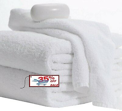 NEW HAND TOWELS 24 PACK 16X27 INCHES WHITE 3LBS 100% COTTON GYM SALON SPA HOTEL