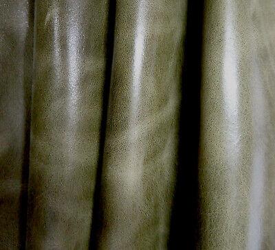 Lederhaut  Kalbsleder Grün marmoriert Pull Up Vintage S190332222 versch. Größen - Leder Pull