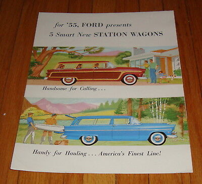 Original 1955 Ford Station Wagon Sales Brochure Country Squire Ranch Wagon