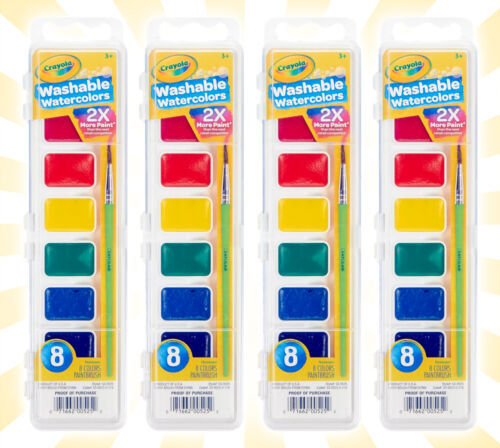 4 Crayola Washable Watercolors 8 Primary Colors Each Pack