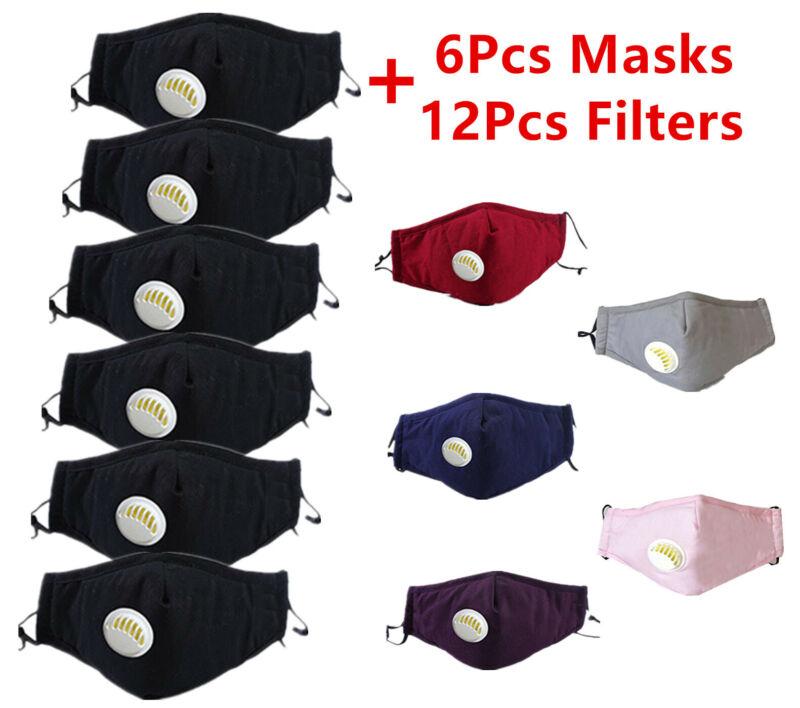 6Pcs Cotton Face Mask With 12Pcs PM2.5 Activated Filters Washable Reusable