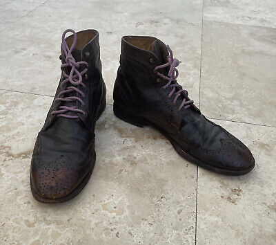 Officine Creative Mens Brown Leather Brogue Boots Size 8 (runs Large 9 US)