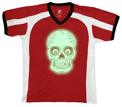 Skull Halloween Skeleton Head Eyes Scary Missing Tooth In Men's V-Neck Sport Tee