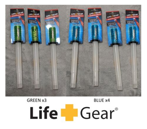 LIFE GEAR Reusable Glow Stick & Flashlight 7 Pack Safety Visibility Blue Green