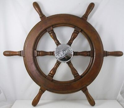"Antique salvaged Trojan Helm Wheel  Ship wheel   22.5"" Mahogany, Sea Breeze"