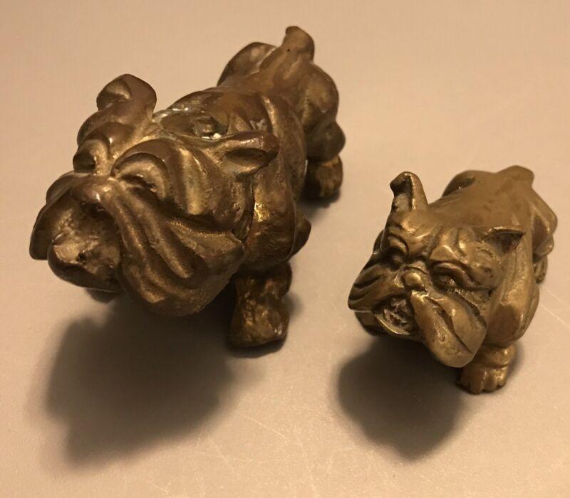 Vintage Solid Brass English Bulldog Figurine Olde English Bulldogge Dogs Rare