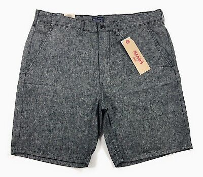 Levis Straight Chino Shorts Mens Linen Blend Gray Chambray Flat Front  - Front Blended Chino Shorts