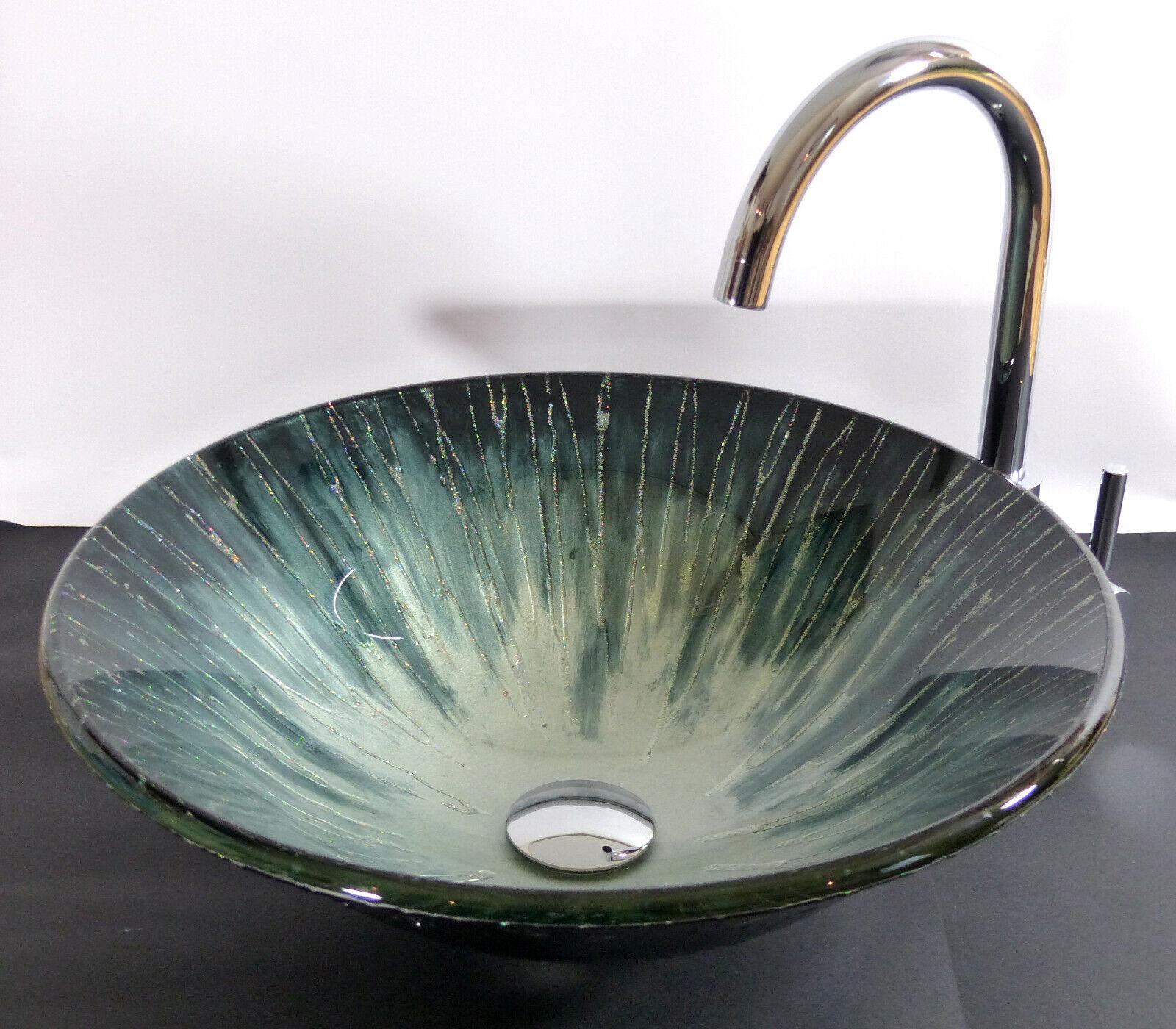 Aufsatz Glas Waschbecken Design  Aqua rund Waschschale Waschtisch Bad WC NEUHEIT