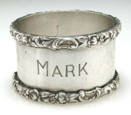 "Vintage Stieff 925 Sterling Silver Floral Edged Napkin Ring Engraved ""MARK"""