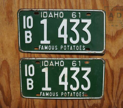 1961 IDAHO >> FAMOUS POTATOES << License Plate PAIR / SET # 1433