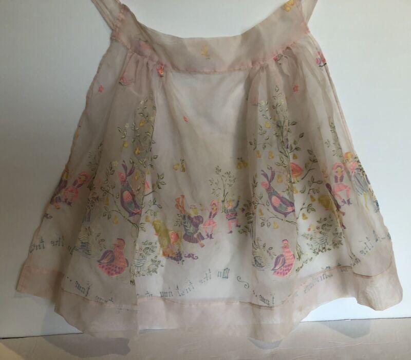 "Vintage Pink Sheer Hostess Half Apron ""My True Love..."" Birds, Trees and Flowers"