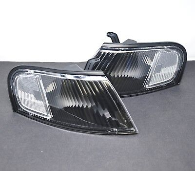 Set of Pair Black Clear Corner Signal Lights for 1998-1999 Nissan Altima