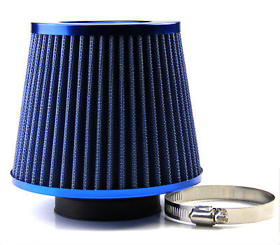 Air Filter Induction Kit Sports Mesh Cone 76MM Universal Blue Chrome Finish Car