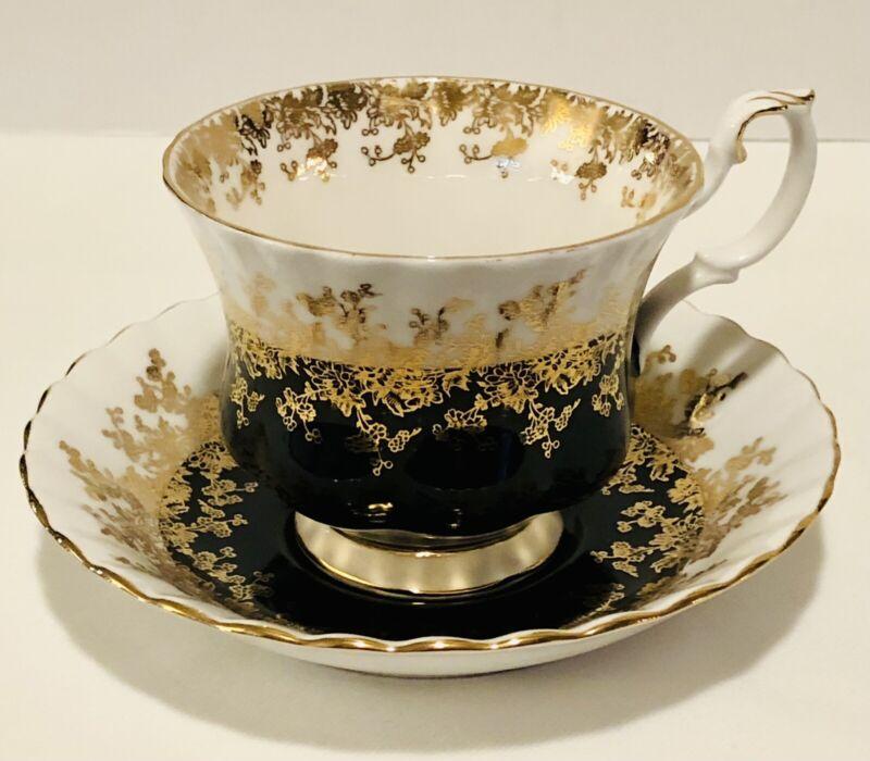 Royal Albert Black Regal Series Cup and Saucer Gold Trim Teacup Bone China C153