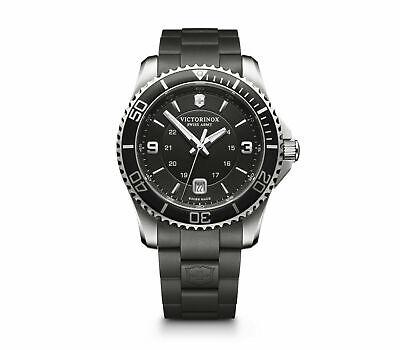 Victorinox Maverick Large Black Dial Link Style Rubber Band Men's Watch 241698