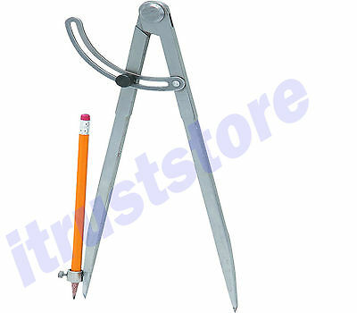 Large METAL Locking Wing Divider Circle Drawer Drafting Compass Drawing Tool - Metal Locking Tool