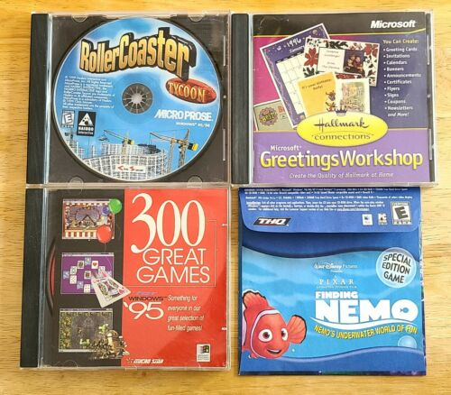Lot of 4 PC Games for WINDOWS 95 98 Rollercoaster Tycoon Hallmark Cards Nemo