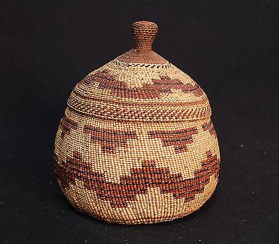 "Hupa/Yurok Lidded Basket: c.1900 4 3/4"" x 7 1/2"""