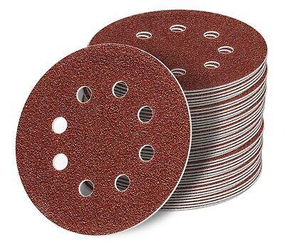 125mm 8 Loch Schleifscheiben Klett Schleifblätter Schleifpapier Rot Exzenter