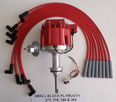 PLYMOUTH SMALL BLOCK 64-89 273-318-340-360 HEI DISTRIBUTOR +RED Spark Plug Wires