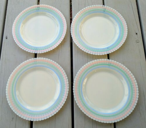4 Vintage Macbeth Evans Cremax Pastel Band 9 ¼ Dinner Plates