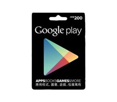 1Pc X Hong Kong Google Play Gift Card  Hk200  For Hong Kong Accounts Only
