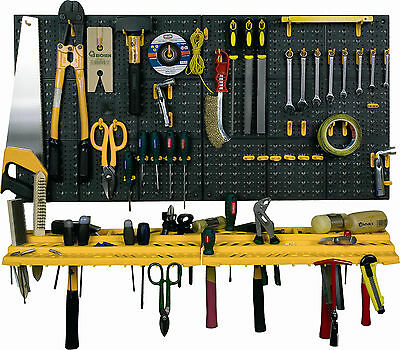 Garage Tool Rack Wall Workshop Storage Kit Plastic Pegboard 50 Hooks Shed Tidy